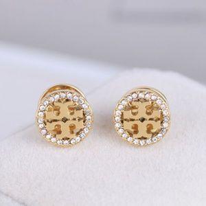 Tory Burch Gold Logo Circle Crystal Stud Earrings